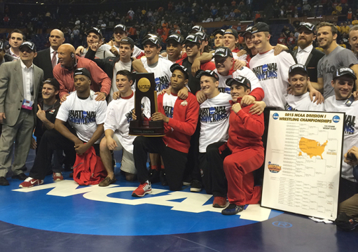 Members of the OSU wrestling team pose for a photo following the NCAA Division I Wrestling Championships on March 21 in St. Louis. The Buckeyes claimed the team national title for the 1st time in program history. Credit: Patrick Kalista / Lantern reporter