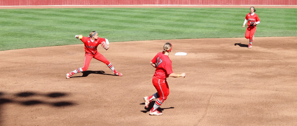 OSU then-redshirt junior shortstop Maddy McIntyre (30) throws the ball to first base against Ohio on April 21 at Buckeye Field. OSU defeated Ohio, 12-4.