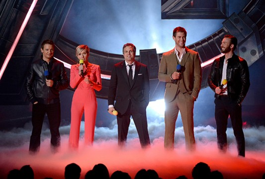 Avengers stars Jeremy Renner, Scarlett Johansson, Mark Ruffalo, Chris Hemsworth, and Chris Evans speak onstage during The 2015 MTV Movie Awards at Nokia Theatre L.A. Credit: Courtesy of MTV