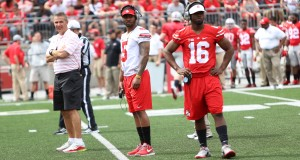 Redshirt-senior Braxton Miller (5) and redshirt-sophomore J.T. Barrett (16) were both held out of OSU's Spring Game on April 18 while rehabbing injuries.  Credit: Samantha Hollingshead / Lantern Photographer