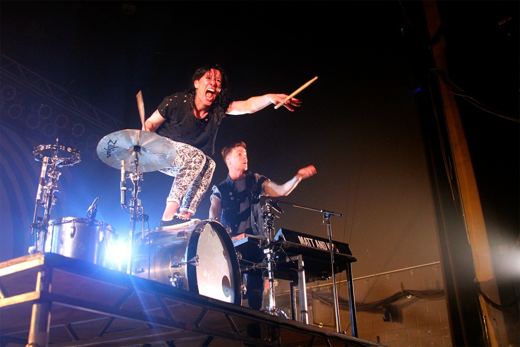 Kim Schifin (left) and Matt Johnson perform at the LC Pavilion on April 16. Credit: Elizabeth Tzagournis / Lantern reporter