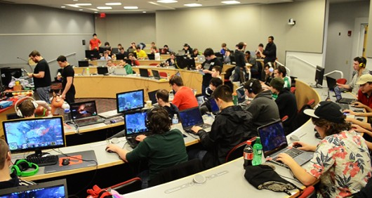 The E-Sports Initiative hosts many gaming events, like this Feb. 21 LAN (local area network) party, to raise money for Child's Play. Credit: Robert Scarpinito / Lantern reporter