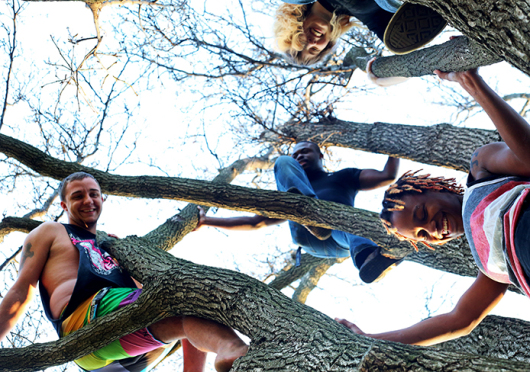 Tyler Richendollar (left), a first-year in nursing, Daija Rayford (right bottom), a second-year in food science, Ethin Lanier (center), a fourth-year in paramedics, and Rachel Cagle, a third-year in English, climb a tree on the oval. Richendollar and Rayford identified as gay. The four of them work together at Raising Cane's on N. High St. Credit: Jon McAllister / Asst. photo editor