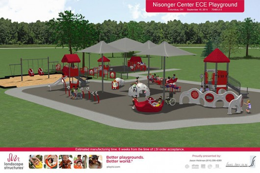 The Nisonger Center's current playground will be renovated so that the space is safer for children to play on. The replacement of the playground will cost more than $300,000, of which $100,000 has been funded by a Columbus Foundation grant. The Nisonger Center plans on breaking ground this summer. Credit: Courtesy of the Nisonger Center