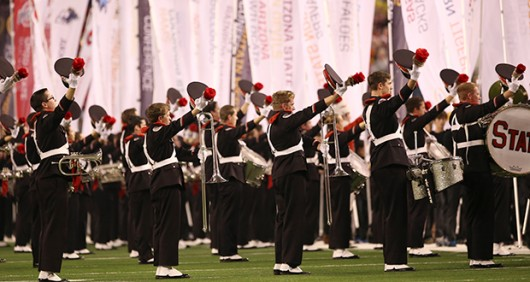 Members of the OSU Marching Band perform at the College Football Playoff National Championship game on Jan. 12 in Arlington, Texas. Credit: Mark Batke / Photo editor