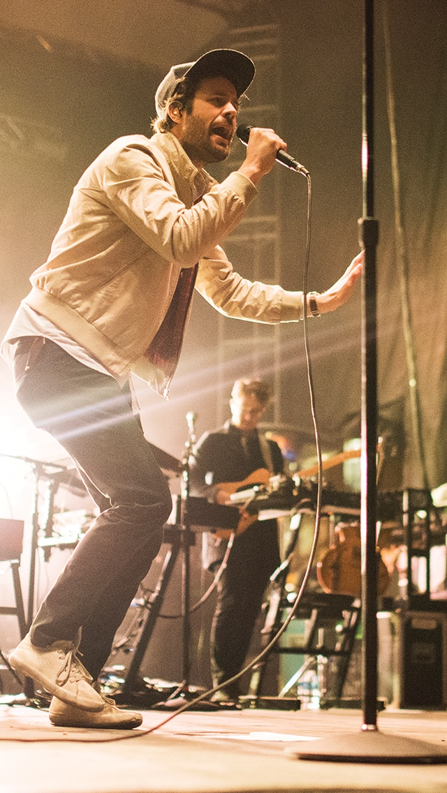 Michael Angelakos of Passion Pit performs during the Big Spring Concert 2015 at the South Oval on April 25. Credit: Judy Won / Lantern Reporter