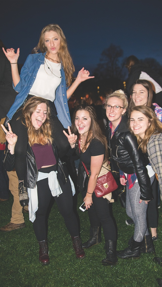 Fans pose for a photograph during the Big Spring Concert 2015 at the South Oval on April 25. Credit: Judy Won / Lantern Reporter