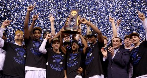 The Duke Blue Devils celebrate their 68-63 win over Wisconsin in the NCAA National Championship game on April 6 in Indianapolis.