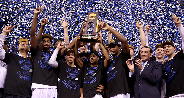 The Duke Blue Devils celebrate their 68-63 win over Wisconsin in the NCAA National Championship game on April 6 in Indianapolis. Credit: Courtesy of TNS