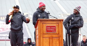 From left: Braxton Miller, Cardale Jones and J.T. Barrett are all set to compete for the OSU starting quarterback job in the fall according to head coach Urban Meyer. Credit: Mark Batke / Lantern photographer