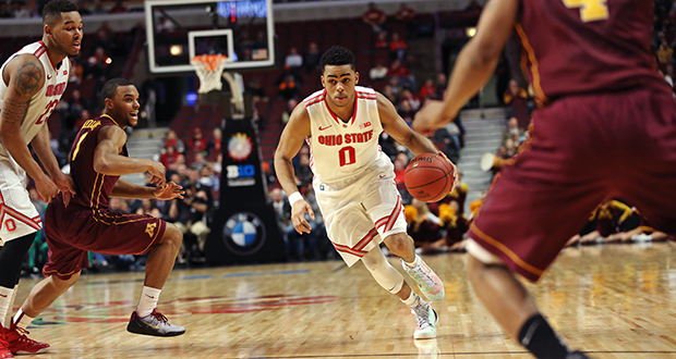 Then-freshman D'Angelo Russell drives to the lane during a game against Minnesota in the second round of the Big Ten tournament. Russell announces his decision to enter the NBA Draft Wednesday.  Credit: Mark Batke / Lantern photographer
