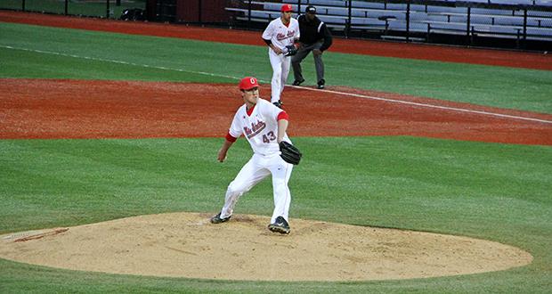 Redshirt-freshman pitcher Adam Niemeyer is set to make his 2nd collegiate start against Morehead State on April 21 at Bill Davis Stadium.  Credit: Ryan Cooper / Lantern photographer