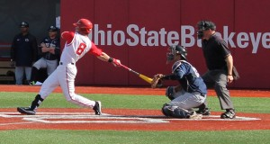 OSU sophomore outfielder Troy Montgomery (8) hits a walk-off dou