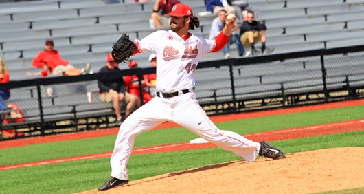Senior pitcher Ryan Riga (44) delivers a pitch for OSU. Credit: Lantern file photo