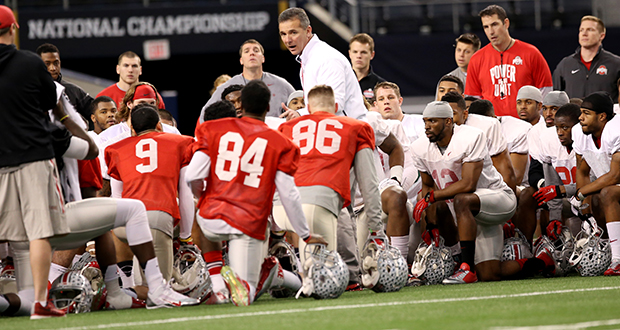 Urban Meyer must replace 8 starters from the national title team, and while it's only April, he said Monday that the holes are already being filled. Credit: Mark Batke / Photo editor