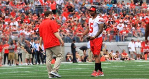 OSU redshirt-senior quarterback Braxton Miller (5) is set to compete with J.T. Barrett and Cardale Jones for a starting spot in 2015.  Credit: Samantha Hollingshead / Lantern photographer