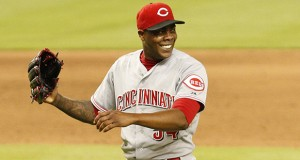 Cincinnati Reds pitcher Aroldis Chapman celebrates the final out in the 9th inning against the Miami Marlins at Marlins Park in Miami on July 31. The Reds won, 3-1. Credit: Courtesy of TNS
