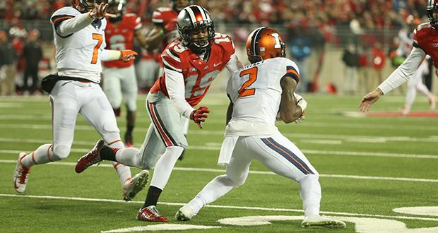 Then-redshirt-freshman Gareon Conley (19) makes a tackle during a game against Illinois on Nov. 1 at Ohio Stadium. OSU won, 55-14. Credit: Mark Batke / Photo editor