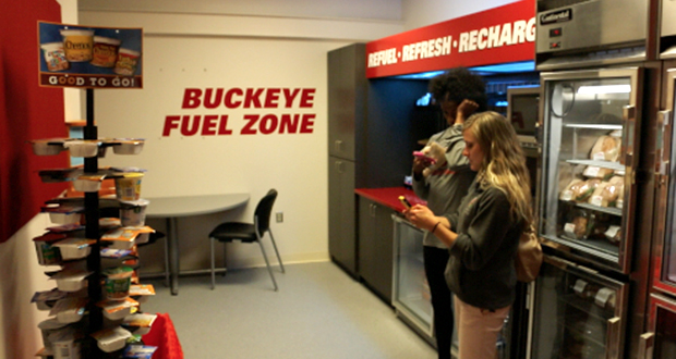 OSU's 2 existing 'Fuel Zones,' with a 3rd on the way, provide all student-athletes with fast, on-the-go snacks to keep them energized throughout the day. Credit: Courtesy of LanternTV
