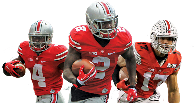 The returning OSU H-backs, comprised of sophomore Curtis Samuel (4), junior Dontre Wilson (2), and redshirt-sophomore Jalin Marshall (17), all have seen considerable playing time during their careers. Credit: Mark Batke / Photo editor