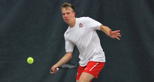 Then-redshirt junior Chris Diaz prepares to hit the ball during a match against Oklahoma on March 6, 2015 in Columbus. OSU lost, 4-3. Credit: Lantern File Photo