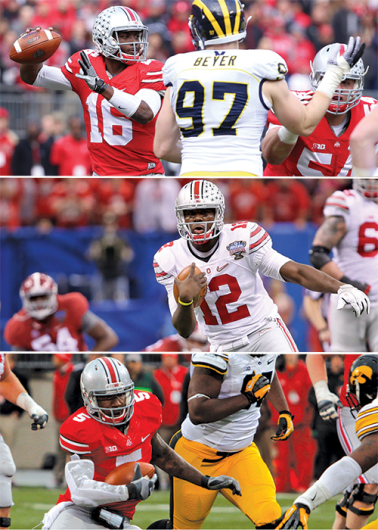 Redshirt-sophomore J.T. Barrett (16), redshirt-junior Cardale Jones (12) and redshirt-senior Braxton Miller (5) all have starting  experience at quarterback for OSU. Credit: Top, middle: Mark Batke / Photo editor Credit: Below: Ritika Shah / LanternTV news director