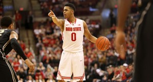 Freshman guard D'Angelo Russell is heading to the NBA according to ESPN. Russell led the Buckeyes in scoring in 2014-15.  Credit: Mark Batke / Lantern photographer