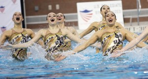 Members of the OSU synchronized swimming team compete in the U.S. Collegiate National Championships on March 28 at McCorkle Aquatic Pavilion. The Buckeyes clinched their 29th national title in program history. Credit: Lantern File Photo