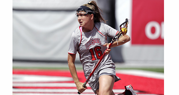 Senior attackman Jackie Cifarelli makes a move with the ball during a match on April 12 against Maryland. OSU lost, 13-8.  Credit: Courtesy of OSU athletics