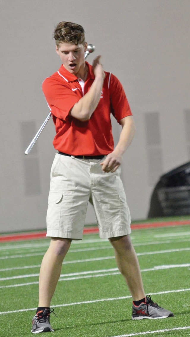 Drum major candidate David Williams during tryouts on April 25 at the Woody Hayes Athletic Center. Credit: Elliot Gilfix / For The Lantern