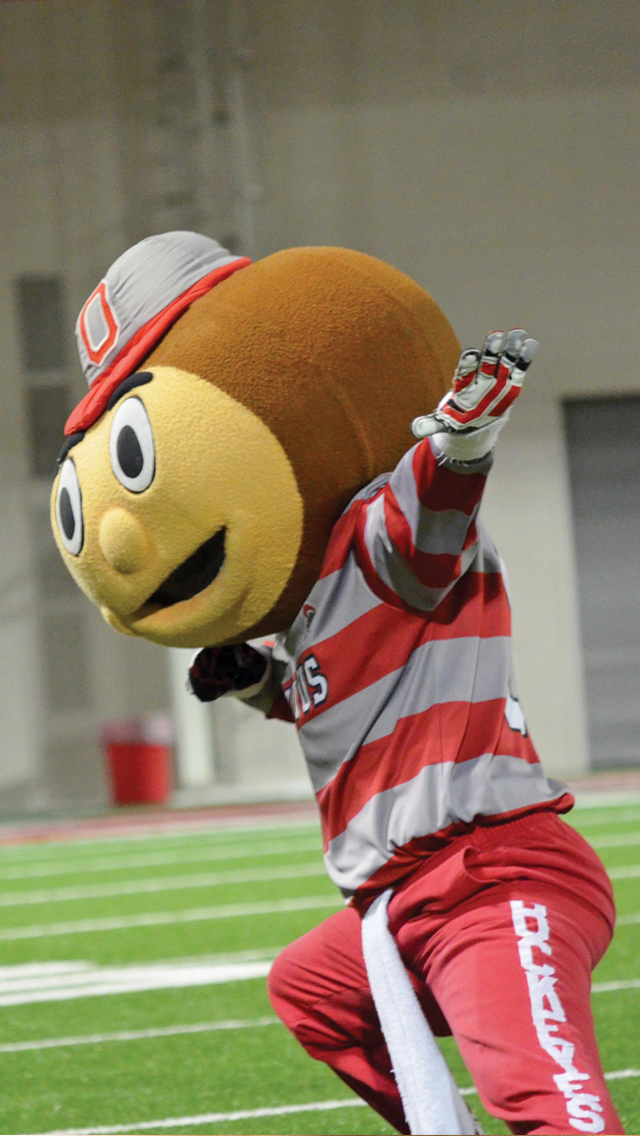 Brutus performs during mascot tryouts on April 25 at the Woody Hayes Athletic Center. Credit: Robert Scarpinito / Lantern Reporter