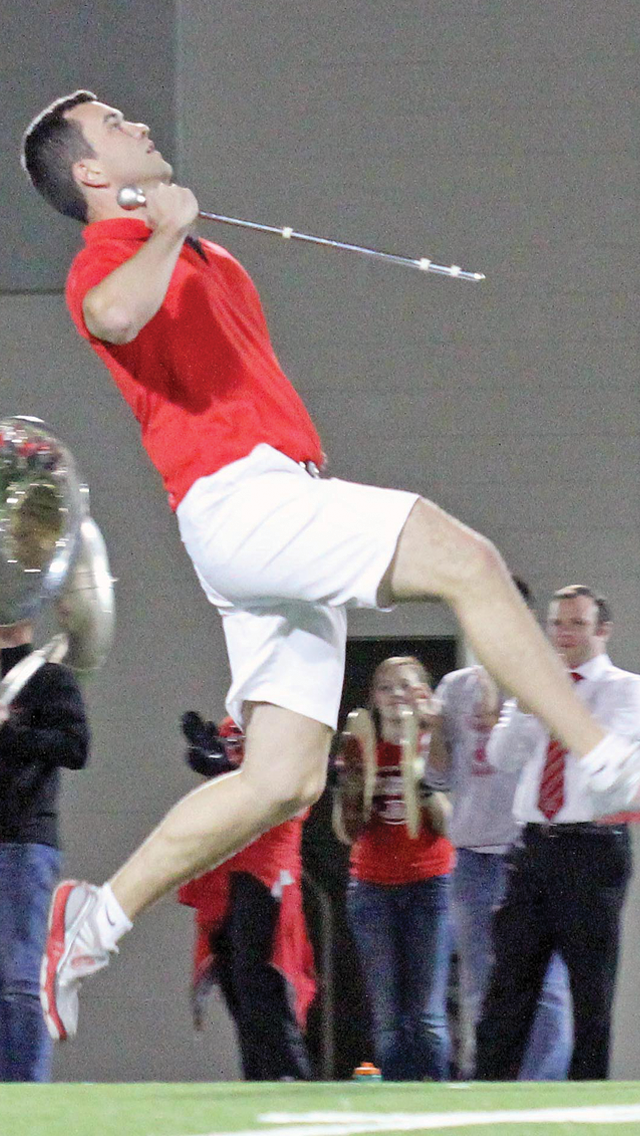 Drum major candidate Daniel McCullough performs during tryouts on April 25 at the Woody Hayes Athletic Center. Credit: Elliot Gilfix / For The Lantern