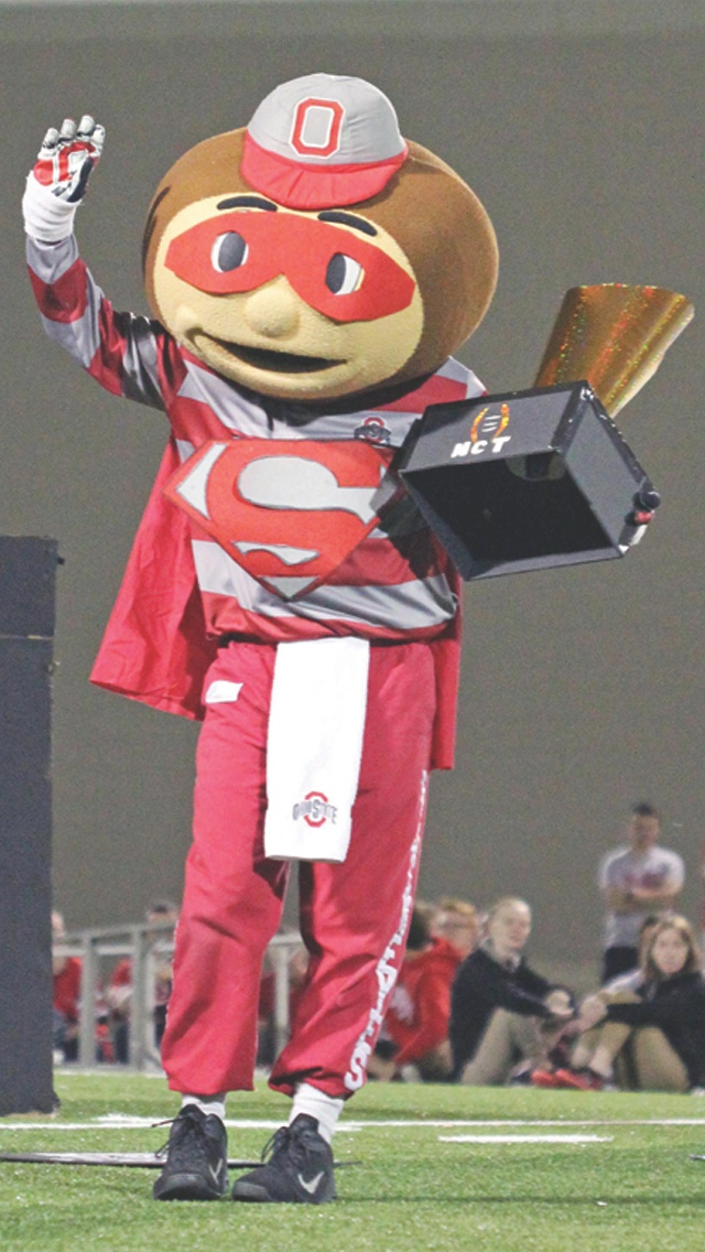 Brutus performs a skit during mascot tryouts on April 25 at the Woody Hayes Athletic Center. Credit: Elliot Gilfix / For The Lantern