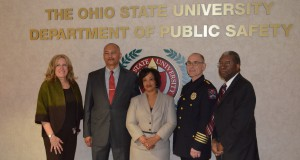 "(From left) Andraea ""AJ"" Douglass, Deputy Chief Craig Stone, Craig's wife Cathy, Chief Paul Denton, and OSU Department of Public Safety Director Vernon Baisden on May 1 for Stone's swearing in as newest deputy chief of University Police. Credit: Robert Scarpinito / Lantern Reporter"