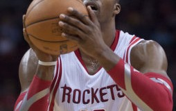 Dwight Howard (12) of the Houston Rockets shoots a free throw against the Sacramento Kings in the second half of the Rocket's 119-98 victory on Wednesday, Jan. 22, 2014, in Houston. Credit: Courtesy of TNS