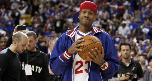 Former 76ers' Allen Iverson holds the game ball before Philadelphia played the Boston Celtics in Game 6 of the NBA Eastern Conference semifinals on Wednesday, May 23, 2012, at the Wells Fargo Center in Philadelphia, Pennsylvania. Credit: Courtesy of MCT