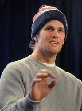 New England Patriots quarterback Tom Brady speaks to the media at a press conference at Gillette Stadium on Thursday. Jan. 22, 2015. The press conference centered around the fact that 11 of 12 Patriot game balls were under-inflated according to NFL rules during the first half of Sunday's AFC Championship victory over the Colts. Credit: Courtesy of TNS