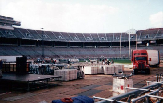 Crews covering up the field for when the Rolling Stones last played Ohio Stadium in 1997. Credit: Courtesy of Colin Thompson
