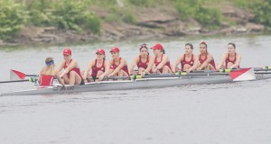 The Ohio State women's rowing team competes on May 30, 2015 at the NCAA qualifying round in Gold River, Calif. OSU won its third consecutive national championship the following day. Credit: Courtesy of OSU Athletics