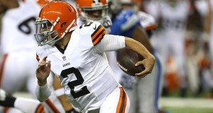 Cleveland Browns quarterback Johnny Manziel (2) evades the Detroit Lions' Kyle Van Noy during the second quarter in exhibtion action on Saturday, Aug. 9, 2014, at Ford Field in Detroit. (Kirthmon  F. Dozier/Detroit Free Press/MCT)