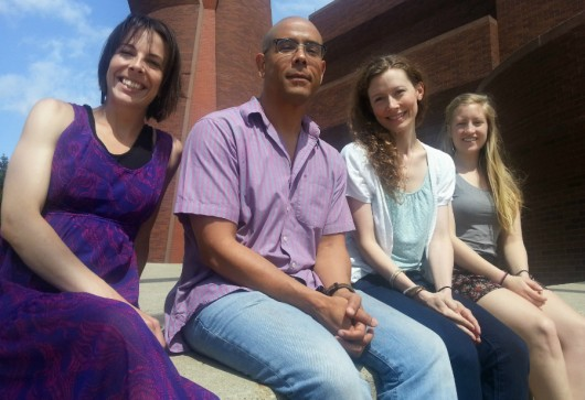 Ohio State researchers have turned to a crowdfunding website in an effort to help raise funding for the continuation of their research. From left to right: Nicole Garlando, Maurice Stevens, Tracie McCambridge and Michelle Hablitzel sit outside the Wexner Center for the Arts. Credit: Michael Huson / Campus Editor