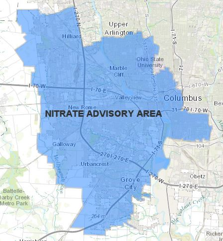 Map of impacted area ofnitrate water advisory in Columbus. Click on photo for link to the interactive nitrate advisory area map. Credit: Courtesy of the city of Columbus.