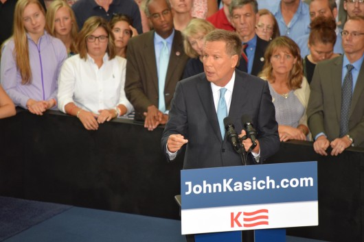 Gov. John Kasich announces the kickoff of his presidential campaign to a packed crowd of supporters at the Ohio Union at Ohio State. Photo by Robert Scarpinito / Copy Chief