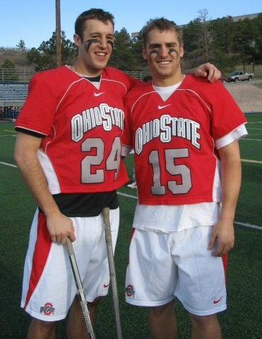 Ohio State alumnus Jonathan DeCanio, on right, with lacrosse teammate during his 2004-2007 career at OSU. DeCanio is now the owner of Affordable Bail Bonds. Credit: Courtesy of Jonathan DeCanio.