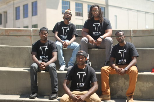 Five Ohio State students and graduates earn more than $66,000 in Kickstarter campaign for their Titan Mixer Bottle. From left to right: Gered Bowman, Adan Ali, Frederick Bowman, Lonie Smith and Mohamed Rage. Credit: Courtesy of FiveID.