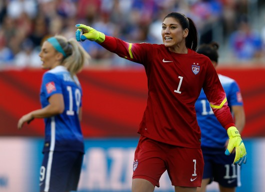 Hope Solo, goalkeeper of the United States, reacts during the World Cup Group D match against Sweden at Winnipeg Stadium in Winnipeg, Canada, on Friday, June 12, 2015. Credit: Courtesy of TNS.