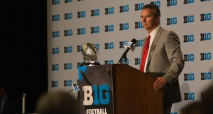 OSU coach Urban Meyer addresses the media on July 30 in Chicago during the 2015 Big Ten Media Days. Credit: Kevin Stankiewicz / Asst. Sports Editor
