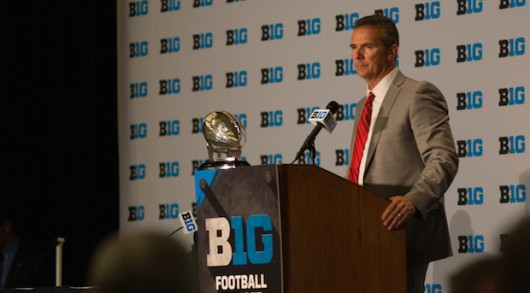 OSU coach Urban Meyer addresses the media on July 30 in Chicago during the 2015 Big Ten Media Days. Credit: Kevin Stankiewicz / Oller Reporter