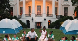 President Barack Obama and First Lady Michelle Obama host a group of Girl Scouts from across the country for a campout on the South Lawn of the White House. Credit: Courtesy of TNS