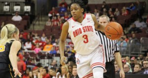 OSU then-freshman guard Kelsey Mitchell scans the floor during a game against Iowa on Feb. 21 at the Schottenstein Center. Credit: Ryan Cooper / Sports Editor